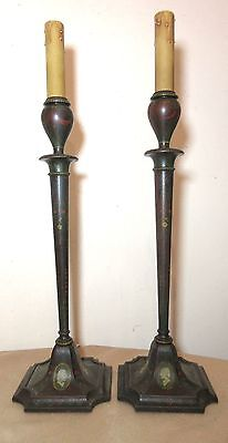 pair of antique 19th century hand painted carved wood candlestick holder lamps