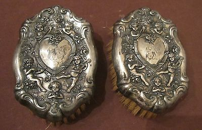 pair antique ornate 1800's Victorian silver-plate horse hair vanity comb brush