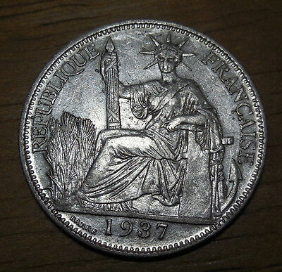 French indochina Vietnam 20 Cents Silver Coins 1937, KM# 17 AU condition