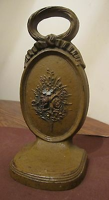 rare antique heavy Floral hand painted cast iron Bradley Hubbard doorstop Deco