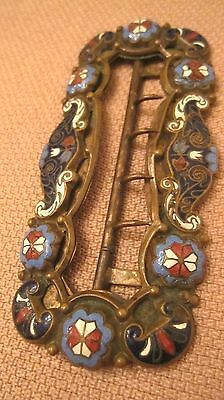 very large rare antique 1800's Victorian bronze enamel ornate belt buckle brass