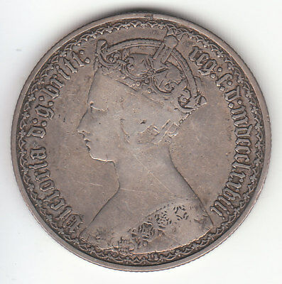 1878 Great Britain Gothic Queen Victoria Silver Florin. UNLISTED Die # 11.