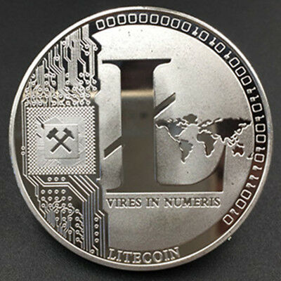 Litecoin Silver Plated Novelty Miner Metal Coin In Protective Acrylic Case Gift