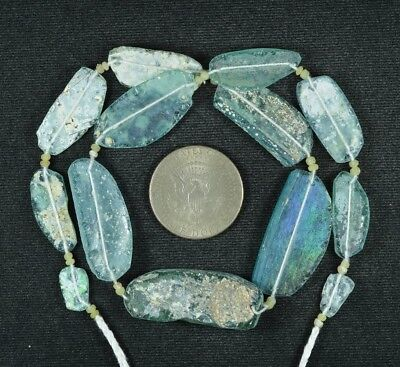 Ancient Roman Glass Beads 1 Medium Strand Aqua And Green 100 -200 Bc 802