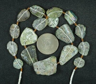 Ancient Roman Glass Beads 1 Medium Strand Aqua And Green 100 -200 Bc 805