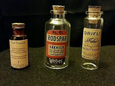 Vintage Style Fishing 2 Rod Varnish, 1 Drifly Glass Bottles...Artist Handcrafted