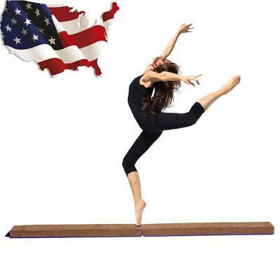 8FT Suede Gymnastics Folding Balance Beam Home Gym Training Gift Elegant