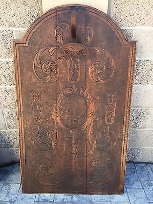 Antique large wood panel, door, window, accent board, carved hook hanger