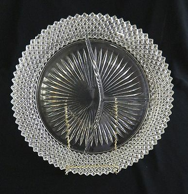Miss American Diamond Pattern Grill Divided Plate Hocking Glass Clear Crystal