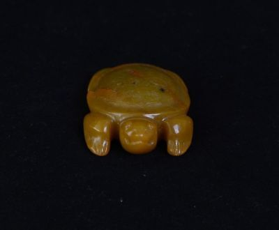 Chinese LiangZhu Style Symbols God Face Turtle Shape Yellow Jade Pendant-JR12616