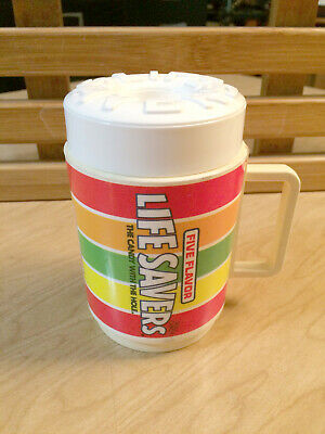 Vintage LIFE SAVERS Candy Sippi Cup Mug WITH LID Plastic Drink Coffee
