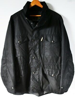 Men's Barbour Black Sapper Wax Military Style Jacket, Size Large