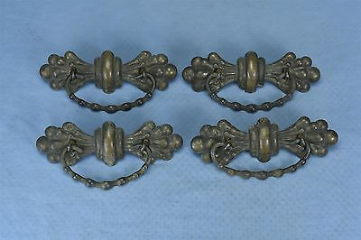 Antique SET of 4 VICTORIAN FANCY PRESSED BRASS DRAWER PULL HARDWARE LARGE #03481