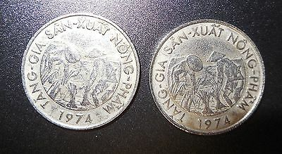 Vietnam 1974 coin 10 dong F.A.O , Lot of 2 coin , XF-AU condition