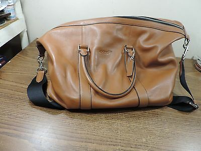 Coach Tan Brown Cowhide Leather Large Cabin Duffle Carry On Luggage Gym Bag
