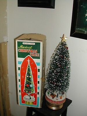 Vintage Xmas Revolving Musical Bottle Brush Tree