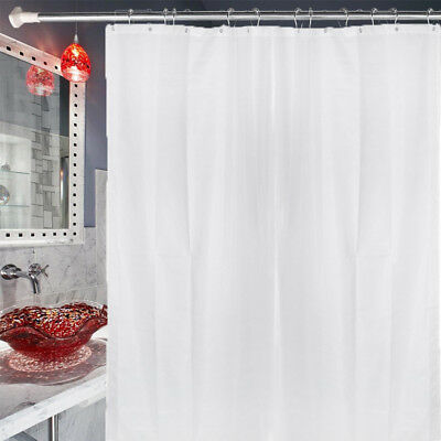 Waterproof Dry Quickly Fabric Shower Curtain Liner 70x72 White With 12 Hook FH