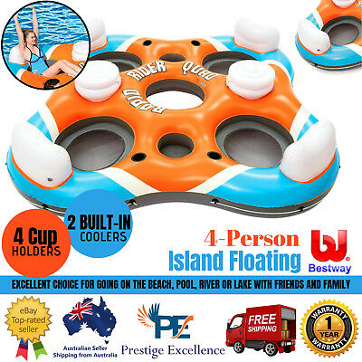 4-Person Island Floating Bestway Rapid Rider Inflatable Raft Cooler Lounge Float