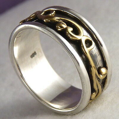 BRASS SCROLL Oxidized SPINNER Size US 8.25 SilverSari RING Solid 925 Stg Silver