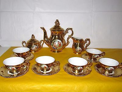 Vintage Bavaria Gareis Gold Demitasse Coffee Set complete, ~Some wear on gold~