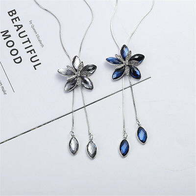 Shinning Crystal Flower Tassel Drop Pendant Necklace Long Sweater Chain Gift