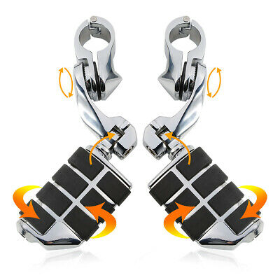 """Chrome 1 1/4"""" 32mm Engine Guard Highway Foot Pegs Footrest & Clamps For Harley"""