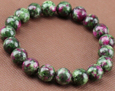 Natural 8mm Green Ruby In Zoisite Round Gemstone Stretchy Bracelet 7.5'' C3171