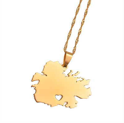 Map Of Antigua Island Caribbean Heart Country Gold Chain Charm Pendant Necklace