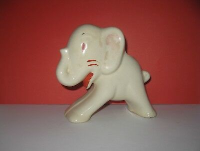 Vintage UHL Pottery Elephant Planter Cream w/Red Detail Trunk Up