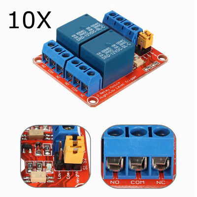 10Pcs 12V 2 Channel Relay Module With Optocoupler Support High Low Level Trigger
