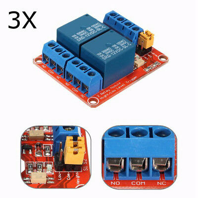 3Pcs 12V 2 Channel Relay Module With Optocoupler Support High Low Level Trigger