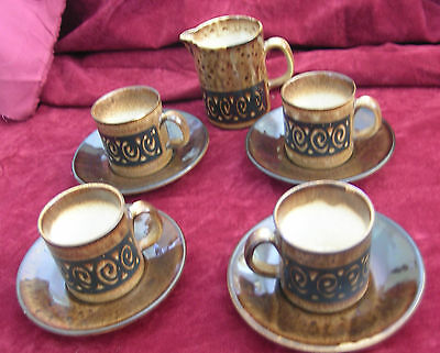 Vintage Iden Rye Pottery Set of 4 Small Cups & Saucers & Matching Milk Jug