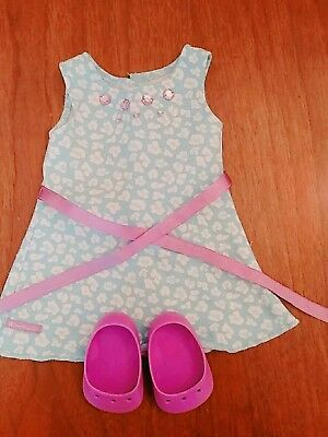 """American Girl 18"""" Doll TEAL PRINT DRESS Exclusive Rhinestones Shoes Clothes"""