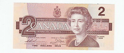 1986 Canadian Two Dollar Bank Note Large B Varient