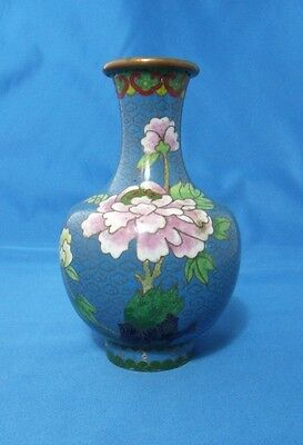 Antique vase - Urn Chinese Cloisonne 5 inches high Blue with Pink flowers