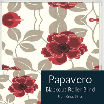 Red & White Papavero Poppy Flower Patterned Easy Fit Blackout Roller Blinds