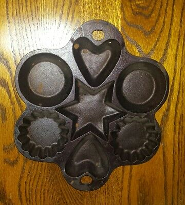 Vintage Jw 2 John Wright Cast Iron Muffin Pan Made In Usa Hearts & Star Shapes