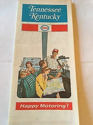 1971 Vintage Road Map - ESSO - Tennessee & Kentucky Humble Oil