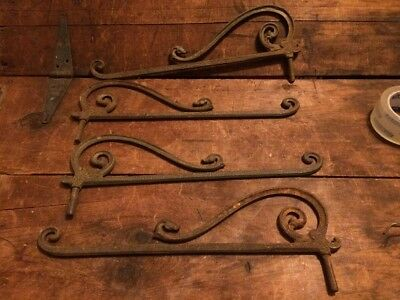 Antique Cast Iron Art Deco Curtain Rod Swing Holders Window Bracket Vintage Old