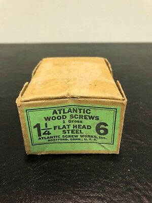 Vtg Atlantic #6 X 1 1/4 Inch Flat Head STEEL SLOTTED Wood Screws 139 box