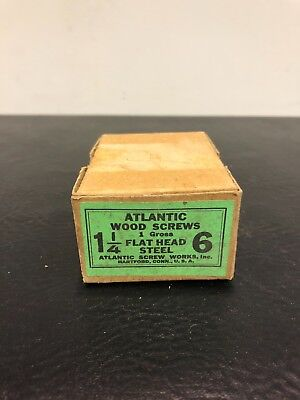 Vtg Atlantic #6 X 1 1/4 Inch Flat Head STEEL SLOTTED Wood Screws 127 box