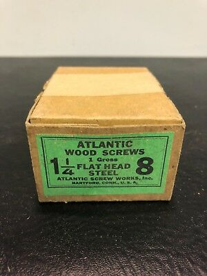 Vtg Atlantic #8 X 1 1/4 Inch Flat Head STEEL SLOTTED Wood Screws 106 box