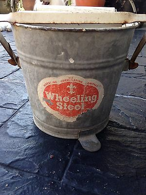 Vintage Wheeling Steel West Virginia Galvanized Steel Mop Bucket #412