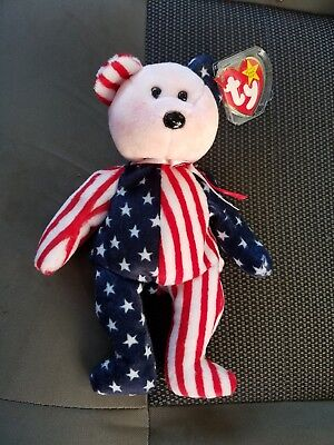 TY Beanie Babies SPANGLE The Pink Face Bear 06/14/1999 Mint w/tag Fourth Of July