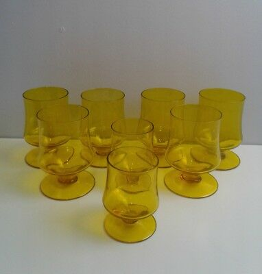 Vintage Yellow Footed Water Glass or Dessert Sherbet  Lot of 8 mid cententury