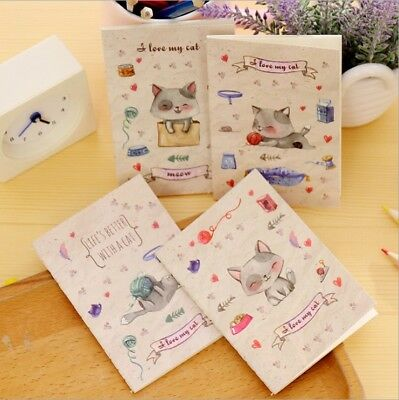 4pk Cute Kitten Cat Blank Page Mini Notebooks Small Notepads Pocket Memo Pads