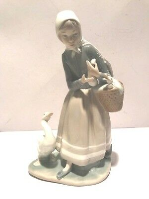Vintage Porcelain LLADRO Handmade In Spain DAISA 1977 A Girl With a Geese