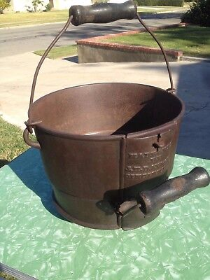 Antique Cast Iron Footed Kettle Bucket  8  Unusual J.H. Day & co. 1875