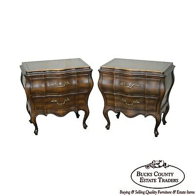 Union National Pair of Bombe French Provincial Nightstands Chests