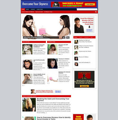 Shyness Advice Blog & Website With Affiliate Store For Sale / Includes Domain